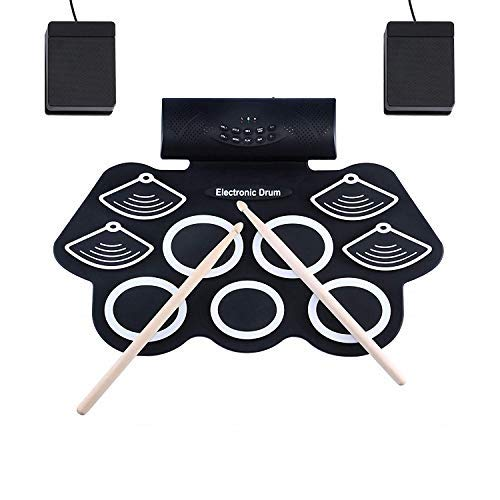 Asmuse Electronic Drum Kit Roll Up Drum Set 9 Sensitive Drum...