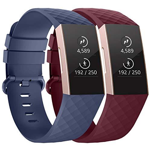 Adepoy - Correa de repuesto compatible con Fitbit Charge 3 edición especial, ajustable clásica con hebilla clásica de aleación de aluminio, color Azul marino/Rojo Viento
