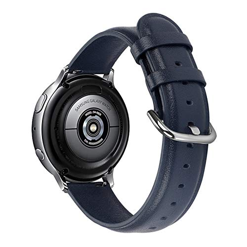 YGGFA Banda De Reloj De Cuero Genuino De 20 Mm 22 Mm para Samsung Galaxy Watch 42mm 46mm Active 2 Gear S3 Strap Band Pulsera para Huawei Watch GT (Band Color : Midnight Blue, Band Width : 22mm)