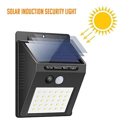 ASDAD 30 LED Solar wandlamp voor binnen en buiten, waterdicht, PIR bewegingssensor, tuinlicht, zonne-aangedreven schijnwerper, zonlicht, straatlantaarn