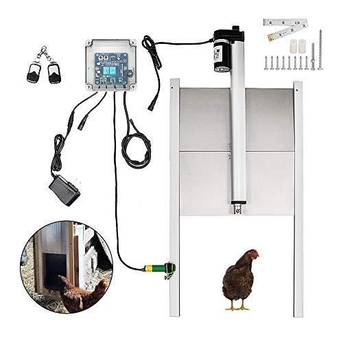 Automatische Hühnerklappe mit Zeitschaltuh/Lichtsensor, Automatische Hühnertür,Echter Nothaltefunktion und Klappe 300 x 300 mm (Zeitschaltuh)
