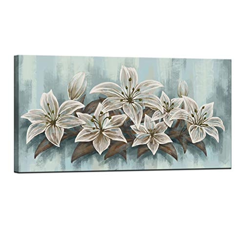 LevvArts Large Flower Canvas Wall Art White Lily Flower Painting Artwork Vintage Floral in Teal Canvas Prints Framed for Bedroom Dinning Room Living Room Office Decor 24x48inches