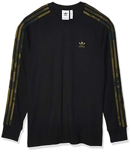 adidas Herren CAMO LS Tee Long Sleeved T-Shirt, Black/Multicolor, L