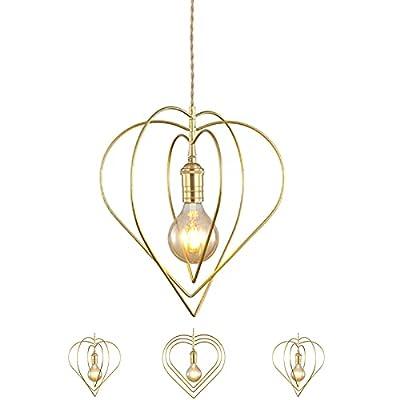 [Forma ajustable] La lámpara colgante está compuesta por 3 anillos de hierro en forma de corazón que se pueden torcer alrededor de tornillos y doblar en forma plana, puede ajustar y establecer la dirección de la forma según sus preferencias; para gua...