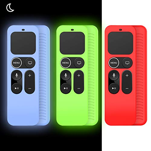 [3Pack] Case for Apple TV 4K / 5th 4th Gen Remote, Anti-Slip Shockproof Silicone Cover for Apple TV 4K Siri Remote Controller (Red+ Glow Blue+Glow Green)
