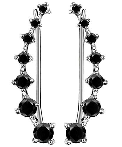 Ohrringe Damen Kletterer Hypoallergen mit 7 Kristallen 925 Sterling Silber Hypoallergen Crystal Bling Schmuck