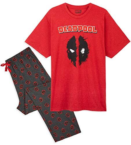 Marvel Pijama Hombre, Conjunto 2 Piezas Camiseta y Pantalon Largo, Pijamas Hombre Diseno Deadpool, Merchandising Oficial Regalos Hombre y Adolescente (Rojo, 3x_l)