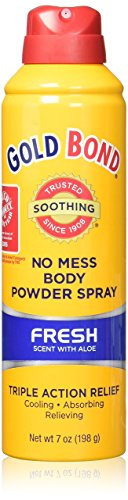 Gold Bond No Mess Spray Powder, Fresh Scent with Aloe, 7 Ounce, Pack of 2