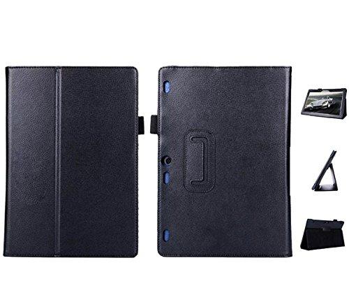 Lobwerk Hülle für Lenovo Tab 10 TB-X103F 10.1 Zoll Tablet Schutzhülle aus Kunstleder Smart Cover Flip Hülle Schwarz