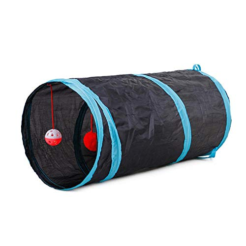 Mingi Cute Funny Pet Cat Tunnel 2 Trous Play Tubes Balls Pliable Crinkle Kitten Toys Puppy Rabbit Play Dog Tunnel Tubes, Noir, 50x25 cm