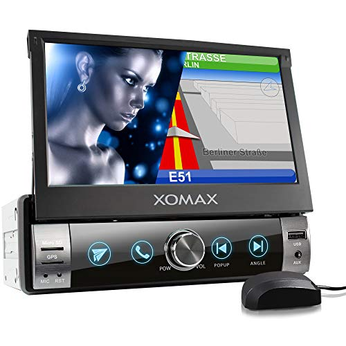 XOMAX XM-VN764 Autoradio mit Mirrorlink, GPS Navigation, Navi Software, Bluetooth Freisprecheinrichtung, 7 Zoll / 18cm Touchscreen Bildschirm, RDS, USB, SD, AUX, 1 DIN