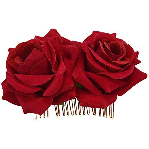 Youmine Pinza De Pelo De Flor Rosa Diapositiva Alfiler De Bailarina De Flamenco Broche De Flores Clip De Estilo De Cabello Para Senora