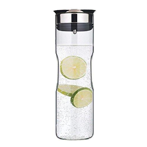 WMF Motion - Jarra de agua 1,25l, altura de 29cm jarra de cristal tapa de silicona CloseUp set de cierre de agarre para lavavajillas, plata, 98cm
