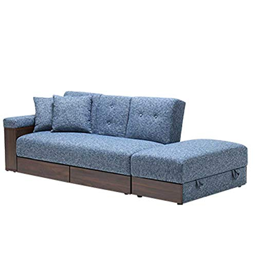 RJMOLU Sofa Bed - Modern Extra Comfort Convertible Folding Futon Sofa Bed - Faux Leather 3 Seater Sofabed Settee Couch with Cup Holder for Living Room/Bedroom/Guest Room,Blue