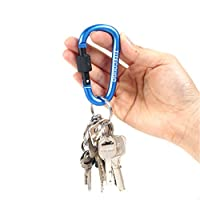 TITECOUGO Aluminum Alloy D-Ring High Strength Carabiner Key Chain Clip Hook For Camping Hiking (1,2,4,6 Pack and 11 Color)