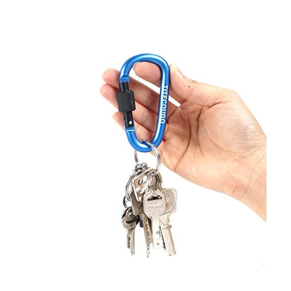 TITECOUGO Aluminum Alloy D-Ring High Strength Carabiner Key Chain Clip Hook For Camping Hiking (1,2,4,6 Pack and 11… 1
