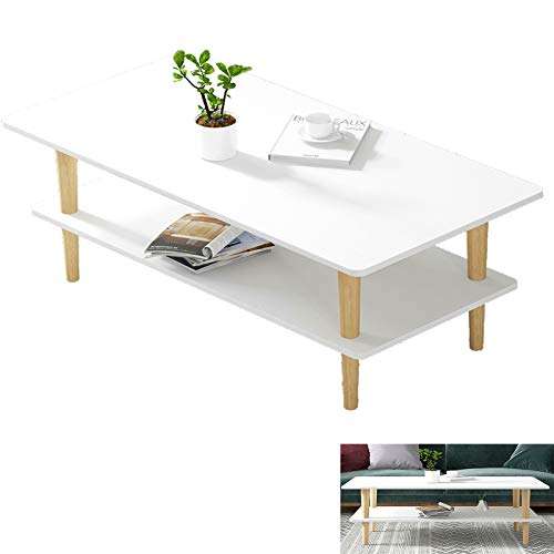 fengicon Coffee Table, White Coffee Tables Living Room With Lower Shelf,small Coffee Table For Dining Room Home Office 39.3x19.6x20.4in