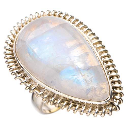 StarGems Anillo de plata de ley 925 hecho a mano con piedra lunar arcoíris natural N D4744