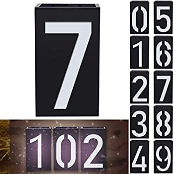 Solar House Numbers LED Illuminated Address Plaque Sign CODACE Outdoor Waterproof IP55 House Address Numbers Plaque for Home Yard Garden Street Mail Box -  Digital 7