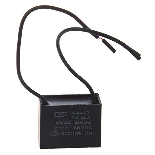 TOOGOO(R) Condensador del ventilador de techo CBB61 4uf 450VAC 2 alambres 50 / 60Hz