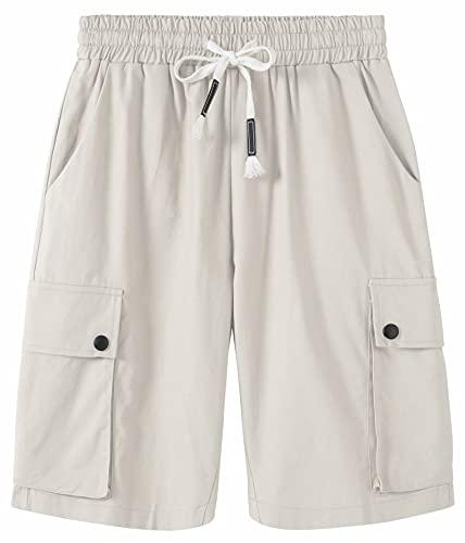 VtuAOL Women's Casual Elastic Waist Cargo Shorts Lounge Travel Shorts with Drawstring Beige US 2XL