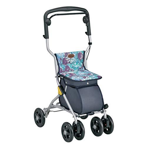 Einkaufstrolleys Einkaufswagen Faltbarer Rollstuhl Mobiler Roller Home Einkaufswagen Mit Sitz Geschenk Kann 150 Kg Tragen (Color : Gray, Size : 43 * 34.5 * 85-91.5cm)