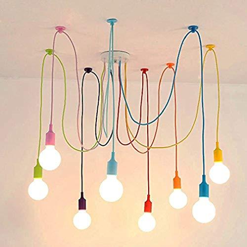 BINJG Vintage Nordic Spider Pendelleuchte mehrere verstellbare Retro Pendelleuchten Loft klassische dekorative Leuchte LED LED Hängelampe Home (8 Kopf bunte Nylonschnur)