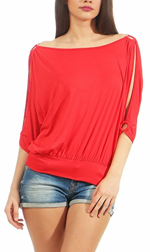 Malito Damen Bluse Kurzarm | Tunika mit breitem Bund | Blusenshirt im Casual Look | Elegant - Shirt 3309 (rot)