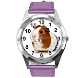 TAPORT® Montre ronde en cuir violet pour les fans de cochon d'Inde