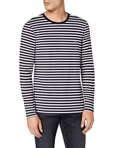 Tommy Hilfiger Herren Stretch Slim Fit Long Sleeve Tee Hemd, Desert Sky/White, XL