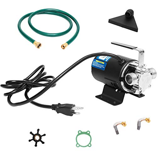 Water Pump 115V 1/10 HP 330 GPH Water Transfer Pump With 3/4 inch Ports Suction Hose And Spare Impeller Electric Water Pump Utility Pump-Black