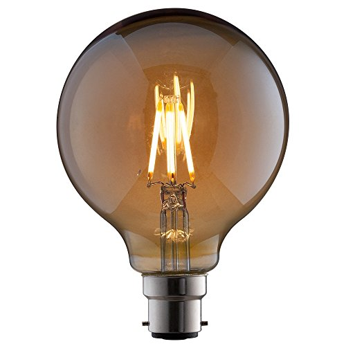 TCP Ampoule vintage à filament LED (G95) 7W B22 équivalent à 52W, 824 Blanc très chaud, 6W, B22d