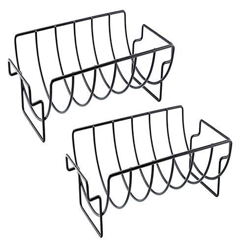 SODIAL Paquete de 2 Parrillas Antiadherentes de Hierro Parrilla para Asar Soportes para Asar Costillas Asadas Asador Cocina Herramientas para Barbacoa Accesorios para Barbacoa