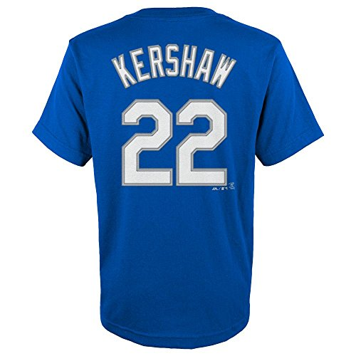 Majestic Clayton Kershaw Los Angeles Dodgers Blue Youth Jersey Name and Number T-Shirt Small 8