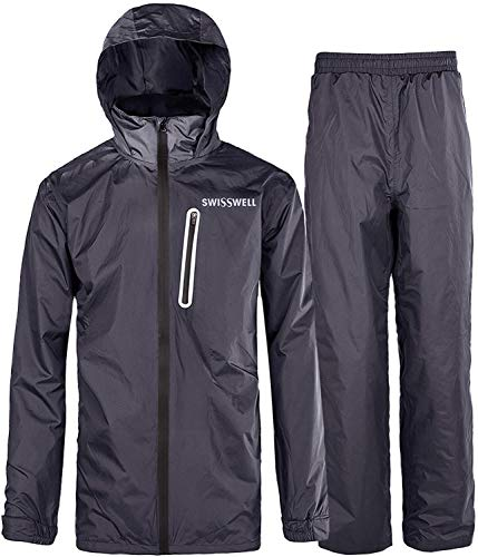SWISSWELL Hooded Rain Suit for Mens Charcoal Large