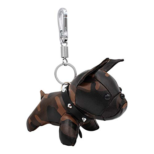REAL SIC French Bulldog Keychain - Cruelty-Free Leather Cute Frenchie Dog Keyring for Keys, Bags, Purses and Backpacks (Brown Camouflage)