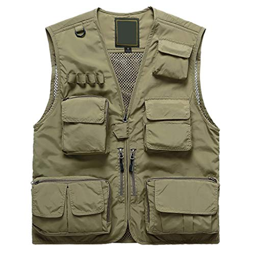 YULAN Vest Multifunctionele herfstjas, sneldrogend voor heren, lente en herfst, dungeslepen, losse mantel multi-tas, zakvissen, fotografie, gereedschapskist