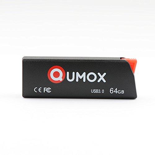QUMOX 64GB Pen Drive USB 3.0 Flash Tarjeta de Memoria, Negro