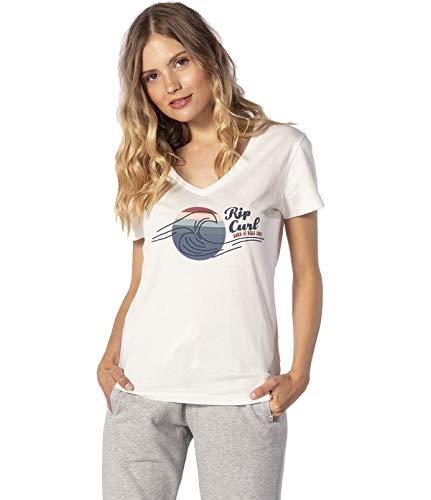 Rip Curl The Wave T-Shirt Mujer,Camiseta,Camiseta Manga Corta,Escote Redondo,Pie de Imprenta,Bone,XS