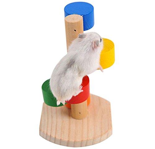 Da.Wa Hamster Toys - Hamster de madera con escalera de escalada, juguete de madera para mascotas y accesorios para hámster