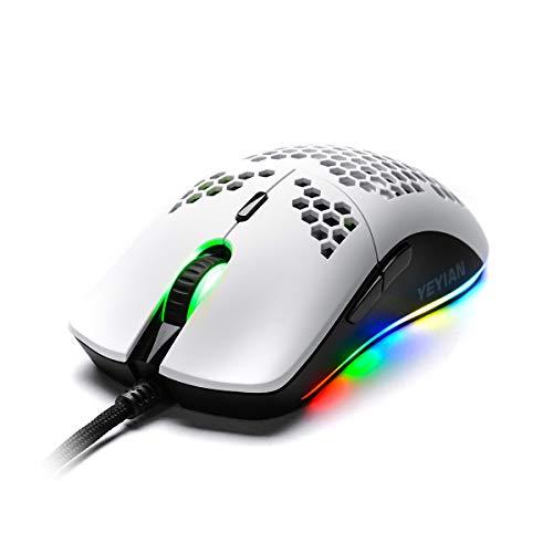 Yeyian Ratón RGB alámbrico Cable Trenzado USB, 7200 dpi, 7 Botones , ergonómico y Ligero, para Win y Mac, Blanco- YMG-24311