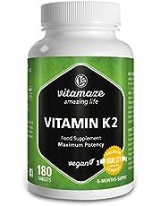 Vitamaze® Vitamina K2 MK-7 Alto Dosaggio Menachinone, 180 Compresse Vegan, Qualità Tedesca, Naturale Integratore Alimentare senza Additivi non Necessari