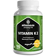 Vitamaze Vitamin K2 Certified, High Strength 200μg MK-7 Menaquinone vegan 180 tablets for 6 months supply Premium Quality Product without magnesium stearate