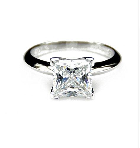Gowe Test positiven 3ct moissanites Simple Prinzessschliff Krappenfassung Solitaire Ring