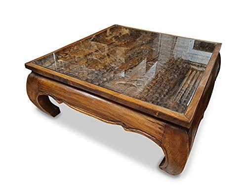 Opium Couchtisch PHALUAI III - 100 cm Wohnzimmertisch mit Elefanten Schnitzerei und Glasplatte