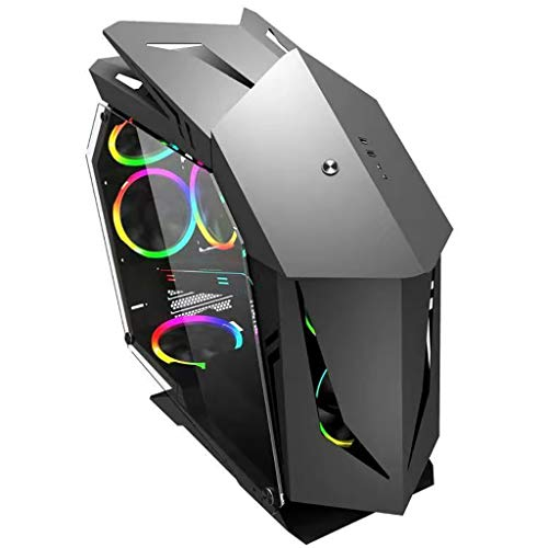 WSNBB Gaming Case, Mid-Tower M-ATX/ITX PC Gaming Computer Case,Tempered Glass Side Panel,USB 3.0,Water Cooling Case,Unique Shape Design,for Desktop PC Computer