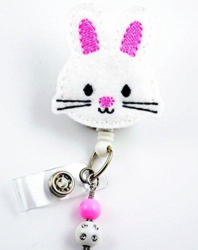 Easter Bunny Face Pink Ears - Nurse Badge Reel - Retractable ID Badge Holder - Nurse Badge - Badge Clip - Badge Reels - Pediatric - RN - Name Badge Holder