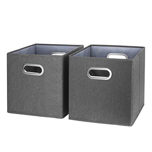 TYEERS Lot de 2 Boîte de Rangement Lavable Pliable Cube de Rangement en Tissu Ouvert avec Poignée pour Armoire Bibliothèque Etagères Placard Bureau Livres Vêtement Jouets Lego CD Peluche - Noir