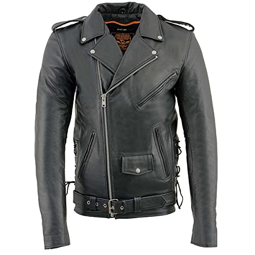 Milwaukee Leather SH1011 Men's Classic Side Lace Police Style Motorcycle Leather Jacket - Large