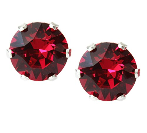 Black Moon Sterling Silver 6mm Ruby Red Crystal Stud Earrings for July Birthstone made with Crystals from Swarovski
